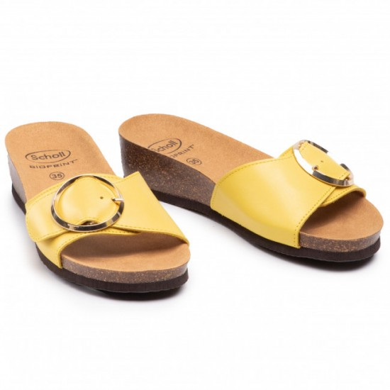 Scholl papucs sárga Amalfi Mule  Bioprint