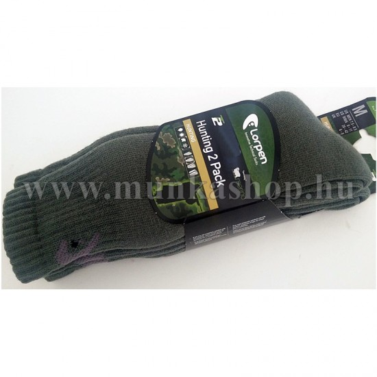 Gyapjú zokni  2pár/csomag Lorpen zöld