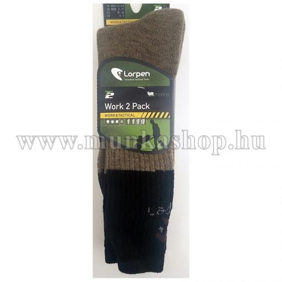 Gyapjú zokni  2pár/csomag Lorpen barna